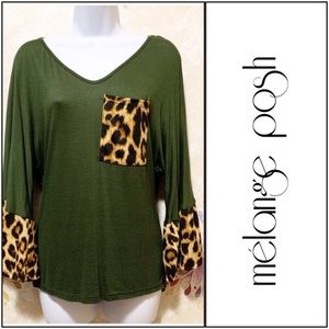 Leopard Print & Solid Green Top With Bell Sleeves